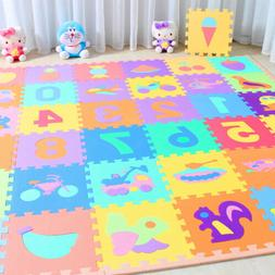 10 x Baby Soft EVA Foam Play Mat Alphabet Numbers Puzzle DIY