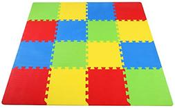 Kids Puzzle Exercise Play Mat with Interlocking Tiles Playro