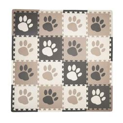 16 sq ft pawprint playmat set brown