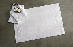 2 PACK EGYPTIAN COTTON WHITE BATH MATS, SOFT AND PLUSH, BY G