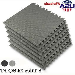 24 Sq Ft Interlocking Puzzle Rubber Foam Gym Fitness Exercis