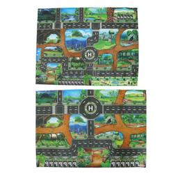 2x Dinosaur World Traffic Road Play Mat for Car Train Toy Ba