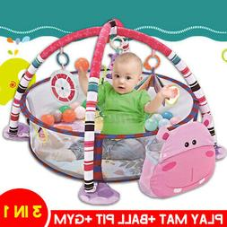 3 In 1 Baby Infant Activity Gym Play Mat Set Play Center Wit