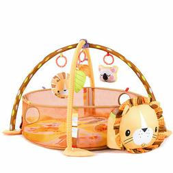 3 in 1 Cartoon Lion Baby Infant Activity Gym Play Mat w Hang