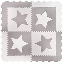 4 Large Interlocking Gray Foam Baby Play Mat Star Tiles - Pl