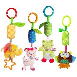 Katedy Toy 4 Packs Rattle Cat Seat Hanging Bell for Newborn