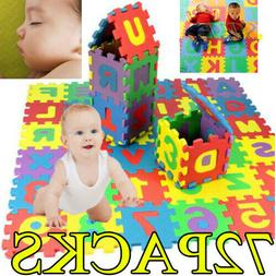 72x Baby Soft EVA Foam Play Mat Alphabet Numbers Puzzle DIY