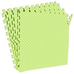 POCO DIVO Polka Dot Green Playmat 16-SQFT Exercise Mat 4-Til
