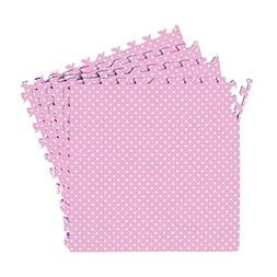 POCO DIVO Polka Dot Pink Exercise Mat 16-SQFT Girls Playmat