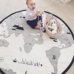 53 Inches Adventure World Map Pattern Baby Crawling Mats Gam