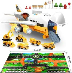 Airplane and Large Play Metal Mat Vehicle Toy Car Set Transp