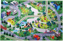 Silli Me Animal World Zoo Play Mat with Roads and Train Trac
