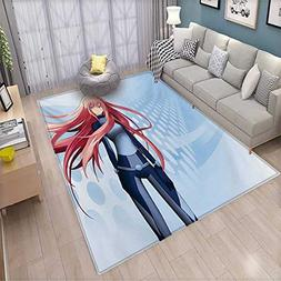 Anime Bath Mats for Floors Futuristic Manga Girl Science Fic