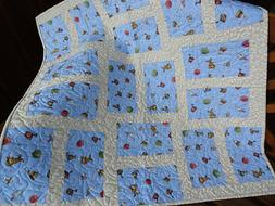 Baby Boy Quilt, Nursery Decor, Play Mat, Baby Toys Fabric, B