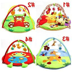 Baby Play Mat Cartoon Animal Gym Blanket with Frame Rattle C