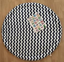BLACK AND WHITE BABY PADDED ROUND TUMMY TIME PLAY MAT ROUNDI