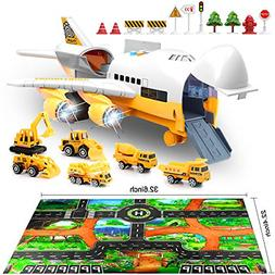 Car Toys Set W/ Transport Cargo Airplane and Large Play Mat