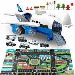 Car Toys Set with Transport Cargo Airplane and Large Play Ma