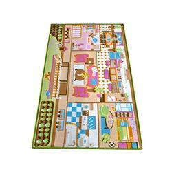 Kids Carpet Playmat Rug Play Time! Fun House Great For Playi