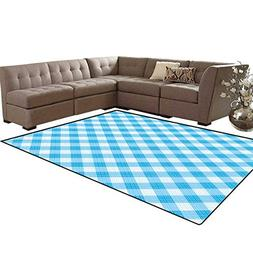 Checkered Kids Carpet Play-mat Rug Blue and White Gingham Fa