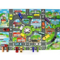 Children Kid Rugs Town Road Map City Cars Toy Rug Play Villa