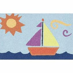 Childrens Area Rug Sail Boat Theme Nautical Pattern Play Mat