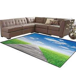 Country,Floor Mat,Pathway Towards Meadow Rural Countryside M
