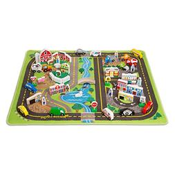 Deluxe Road Rug Play Set - Vehicle Toy by Melissa & Doug