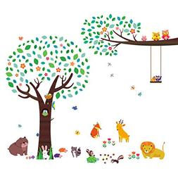 Decowall DM-1312P1410 Large Tree with Animal Friends and Bra