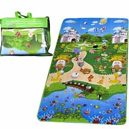 DOUBLE SIDED BABY CRAWLING PLAY MAT Extra Large 71*47 inch R
