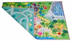 Kids double sided felt play mat - 2 in 1 princess & town, in