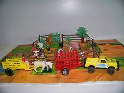 Farm Toy Play Set Animals Truck Trailers Fences & Play Mat P