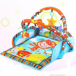 Folding Baby Monkey Activity Gym Play Mat with 5 Playful Mul
