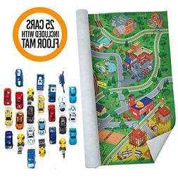 Prextex Giant Fabric Play Mat with 25 Die Cast Toy Cars Incl