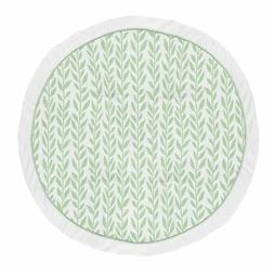 Green Boho Floral Leaf Girl Baby Playmat Tummy Time Play Mat