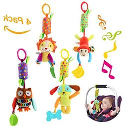 Baby Hanging Rattle Toys, 4 Pieces Newborn Car Crib Hanging