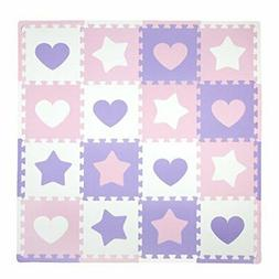 Tadpoles Soft EVA Foam 16pc Playmat Set, Hearts and Stars, P