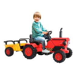 Ride on Tractor w/Detachable Trailer, Kids Truck Car Toy 12V
