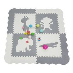 "Clevr Kids Animal Baby Play Mats 1/2"" X-Large EVA Foam, Whit"