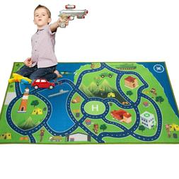 kids area rugs car play crawling activity