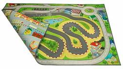 Kids Double Sided Felt Play Mat - 2 in 1 Racetrack/Town, Ind
