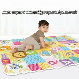 Kids Foam Floor Puzzle Play Mat With Fence Baby Crawling Gym