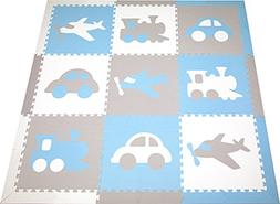 SoftTiles Kids Foam Play Mat- Transportation Theme- Premium