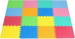 ProSource Kids Foam Puzzle Floor Play Mat with Solid Colors,