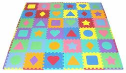 ProSource Kids Foam Puzzle Floor Play Mat with Shapes Colors