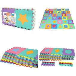 Prosource Kids Foam Puzzle Floor Play Mat With Shapes  Color