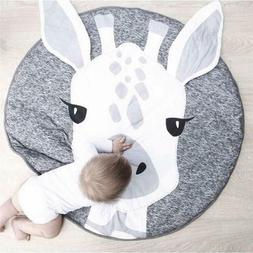 Kids Nursery Rug Play Mat Round Carpet Cartoon Giraffe Desig