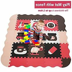 Kids Play Mat with Fence and Large Interlocking Foam Floor T