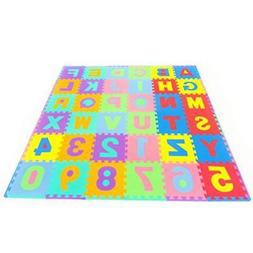 ProSource Kids Puzzle Alphabet Numbers 36 Tiles and Edges Pl