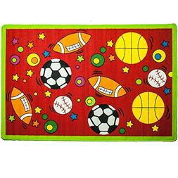 Mybecca Kids Rug Sports Area Rug in Red 3' x 5' Children Are